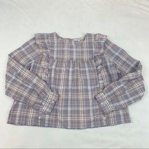 Loft ruffle plaid top blouse cropped long sleeves